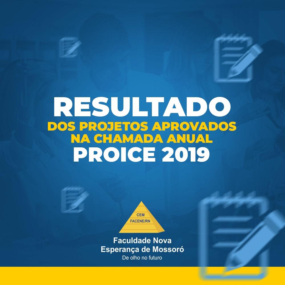 RESULTADO DOS PROJETOS APROVADOS NA CHAMADA ANUAL PROICE 2019