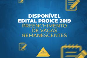 NUPEA divulga edital para preenchimento de vagas remanescentes PROICE 2019