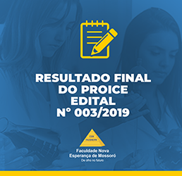 RESULTADO FINAL DO PROICE – EDITAL Nº 003/2019