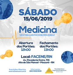 LOCAL, DATA E HORÁRIO DO VESTIBULAR DE MEDICINA FACENE/RN