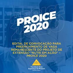 """Edital de convocação para preenchimento de vaga remanescente do projeto de extensão """"NUTRI EM AÇÃO"""" – PROICE 2020"""