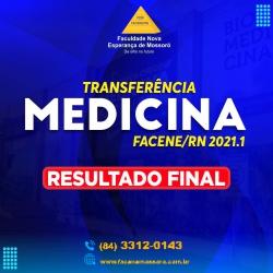 RESULTADO DO PROCESSO SELETIVO PARA INGRESSO POR TRANSFERÊNCIA EXTERNA – 2021.1 PARA MEDICINA